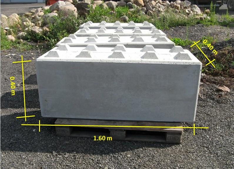 Beton-Blockstein vermasst